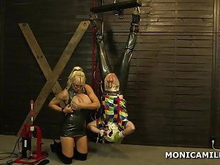 Kinky MonicaMilf is pegging the dirty clown upside down