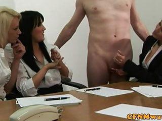 Femdom CFNM office slut wanking cock