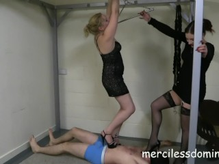 Double Trampling - Two Gorgeous Mistresses on Slave's Back
