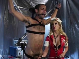 MILF Cherie DeVille spanking tied guy