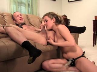 Gwen Diamond spanking and pegging guy
