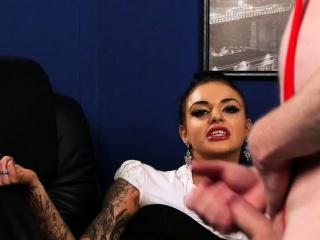 Office voyeur babe dominated over naked sub