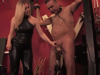 Young latex mistress in cbt for old sub slave