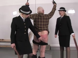 Police femdoms punish pervert sub with leather belts