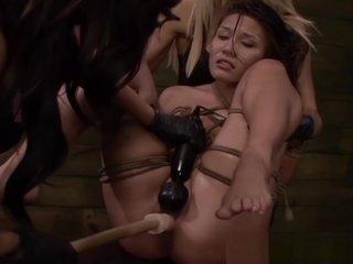 Strapon sub getting humiliated in femdom threeway
