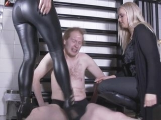 2 german goddesses in boots ballbusting the slave