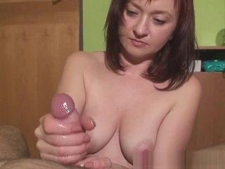 femdom handjob with 2 ruined orgasms
