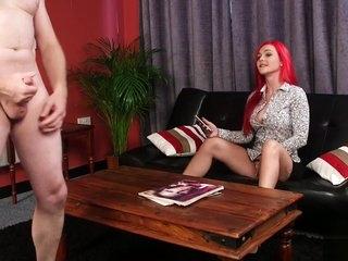 Milf femdom helps her sub to jerk off