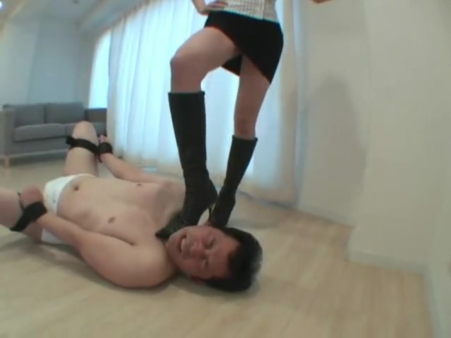boot and barefoot femdom with cum