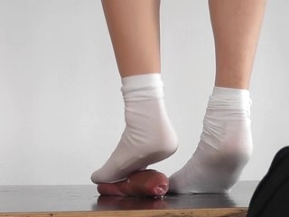 Alina white sock cock trampling with huge cumshots