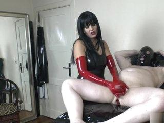 Red Latex Gloves Femdom handjob & Cum