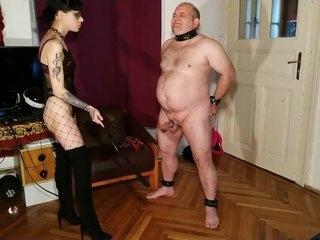 Beth Kinky - Sexy goth domina cbt & dick spanking fat slave pt1 HD