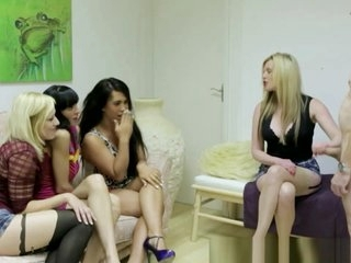 Sexy CFNM FEMDOM babes pulling on cock