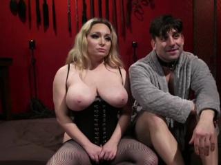 Busty Blonde Milking Her Slave