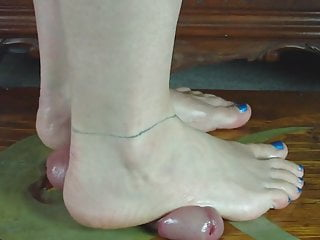 Cock Trample your manhood untill you cum under my bare feet.