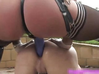 Busty bdsm mistress pegging and fisting sub