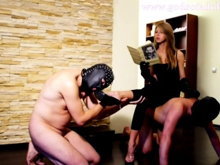 Two subby guys serve their beautiful blonde mistress