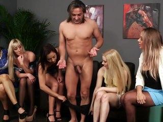 British femdom CFNM group watch babe suck
