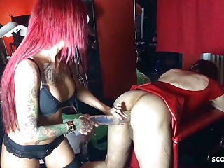 German Femdom Domina Fuck Slave in his Ass with Monster Toy
