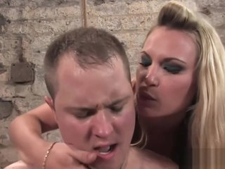 Busty blonde lady enjoying hardcore bondage