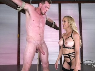 Busty blonde mistress in erotic lingerie, Brandi Love likes to play with her new sex slave