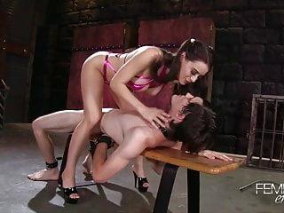 Lana rides on chastity slave