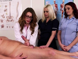 Sexy clothed nurses jerk