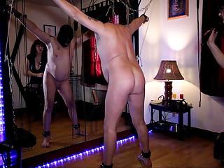 Femdom wife whips her slave husband
