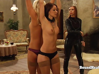 Tight Lesbian Slaves Whipped While Dominant Madame Orgasms