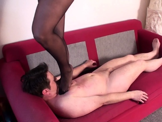 pantyhose milf trample Bobby on sofa