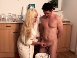 home femdom handjob with cum in trash