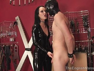 Fetish Liza and rubber sex toy slave boy