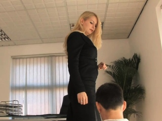 Business domina paddles her pathetic subject