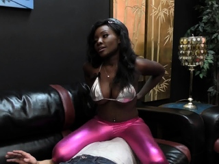 Ebony Dominatrix Shiny Leggins Facesitting!