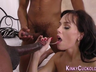 Milf gives interracial blowjob