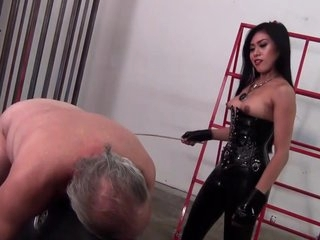Asian Mistress Trains And Spanks Her Loser Slave