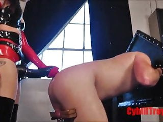 Rough strapon fucking and rubber hand fisting by mistress
