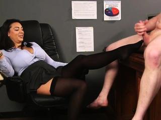 Bigtit office voyeur feet teasing subject dick
