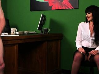 Cfnm brunette in office