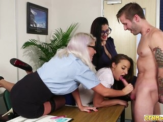 Femdom Group Tease And Suck On Cock