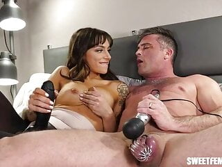 He cums in chastity before pegging