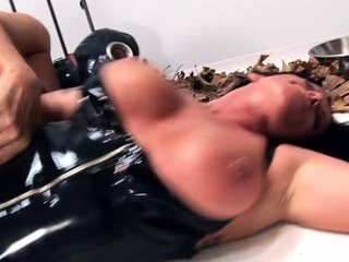 Caged male slave gets fucked by hottie mistress