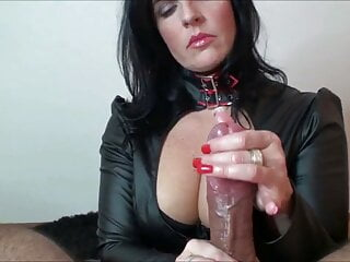 Handjob perfection in leather