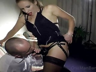 Strap on mistress pegging her slave