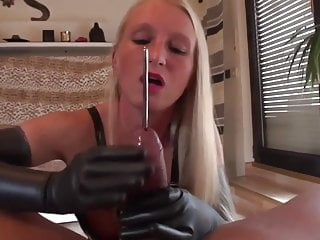 Sounding with Handjob and Cumming in Her Mouth